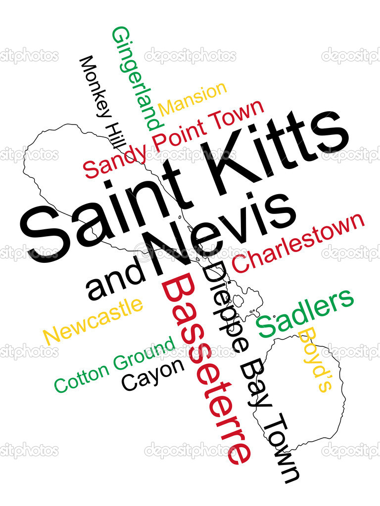 Saint Kitts and Nevis map and words cloud with larger cities — Stock Vector #9927469