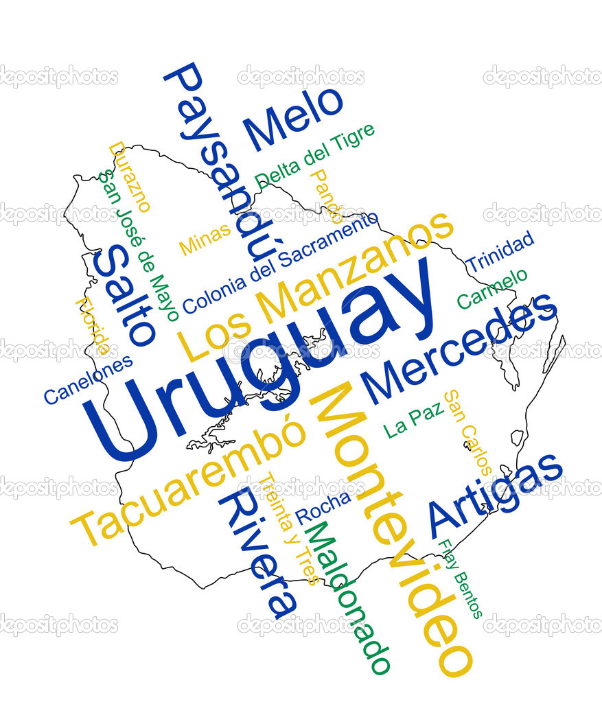 Uruguay map and words cloud with larger cities — Stock Vector #9927478