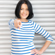 Businesswoman pointing her finger — Stock Photo