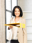 Woman with folder — Stockfoto