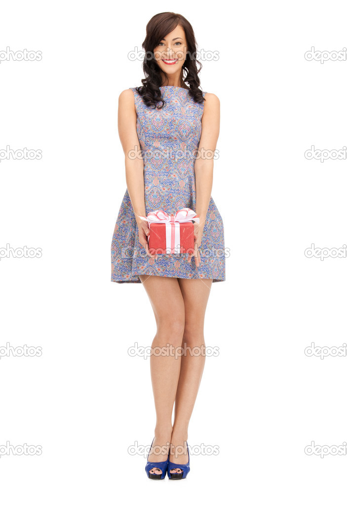 Picture of lovely woman with gift box  Stock Photo #10026861