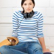 Happy teenage girl in big headphones — Stock Photo #10375856