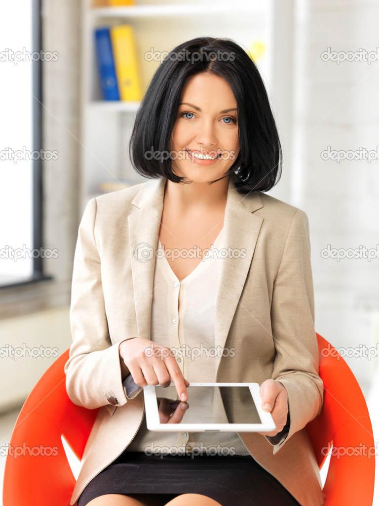 Picture of happy woman with tablet pc computer — Stock Photo #10375528