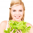 Happy woman with lettuce — Stock Photo #7970279