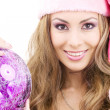 fille d'assistance Santa avec ballon — Photo