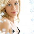 Lovely blonde in blue water — Stock Photo