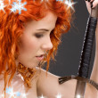 Stock Photo: Redhead warrior