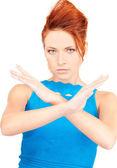 žena při zastavení gesto — Stock fotografie