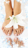 Feet with madonna lily and water — Stock Photo