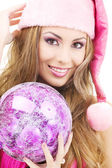 Santa helper girl with ball — Stock Photo