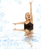 Singing blonde in water — Stock Photo