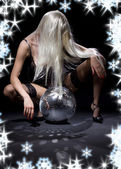 Dark glitterball dance — Stock Photo
