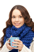 Woman with blue mug — Stock Photo