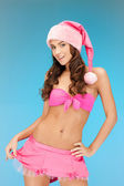 Cheerful santa helper girl in lingerie — Stock Photo