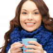 Stock Photo: Woman with blue mug