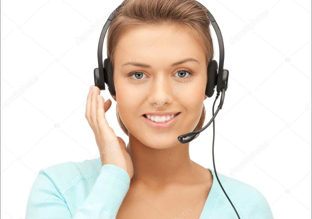 Bright picture of friendly female helpline operator — Stock Photo #8162807