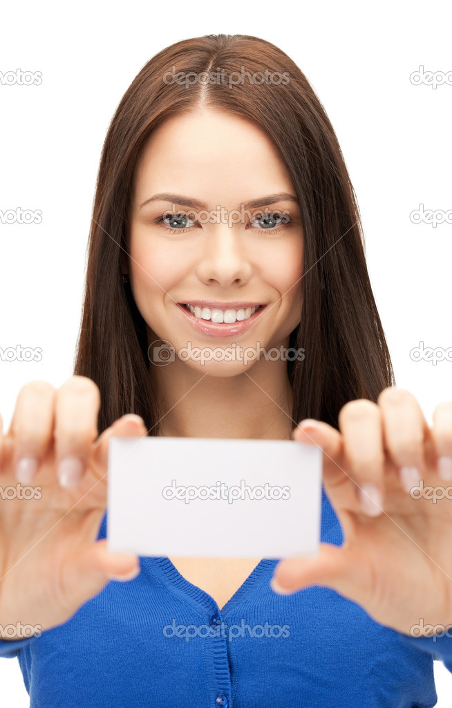 Bright picture of confident woman with business card  Stock Photo #8256593