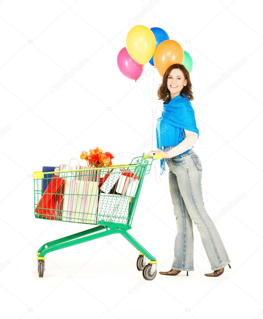 Happy woman with shopping cart and balloons over white  Foto Stock #8320759