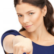 Stock Photo: Businesswompointing her finger