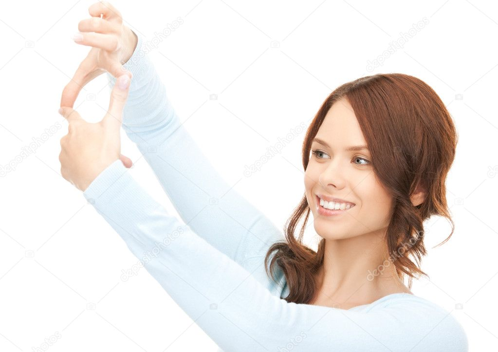 Picture of lovely woman creating a frame with fingers — Stock Photo #9030371