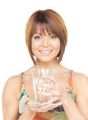 Beautiful woman with glass of water — Stock Photo
