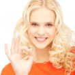 Lovely teenage girl showing ok sign — Stock Photo #9134072