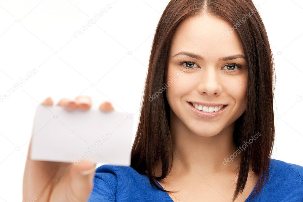Bright picture of confident woman with business card — Stock Photo #9168244