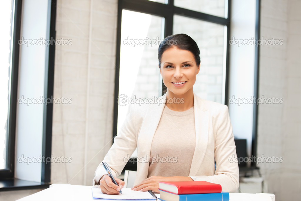 Bright picture of happy woman with book  Stock Photo #9168355