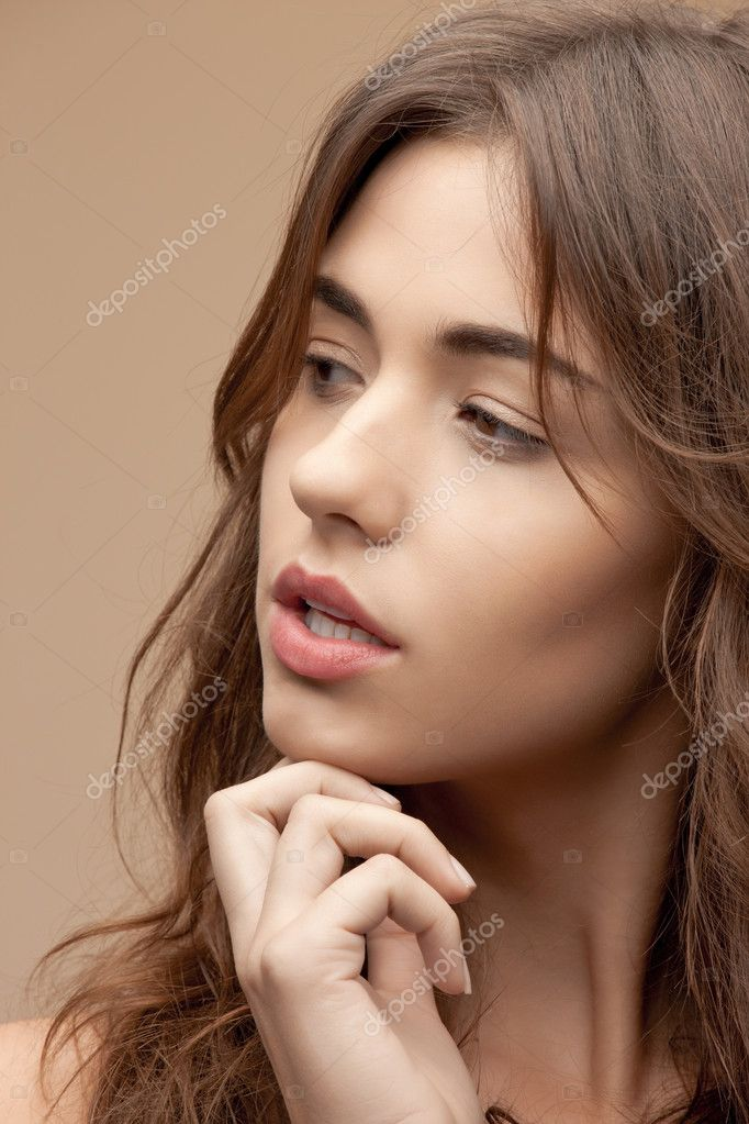 Bright closeup portrait picture of beautiful woman — Stock Photo #9168399