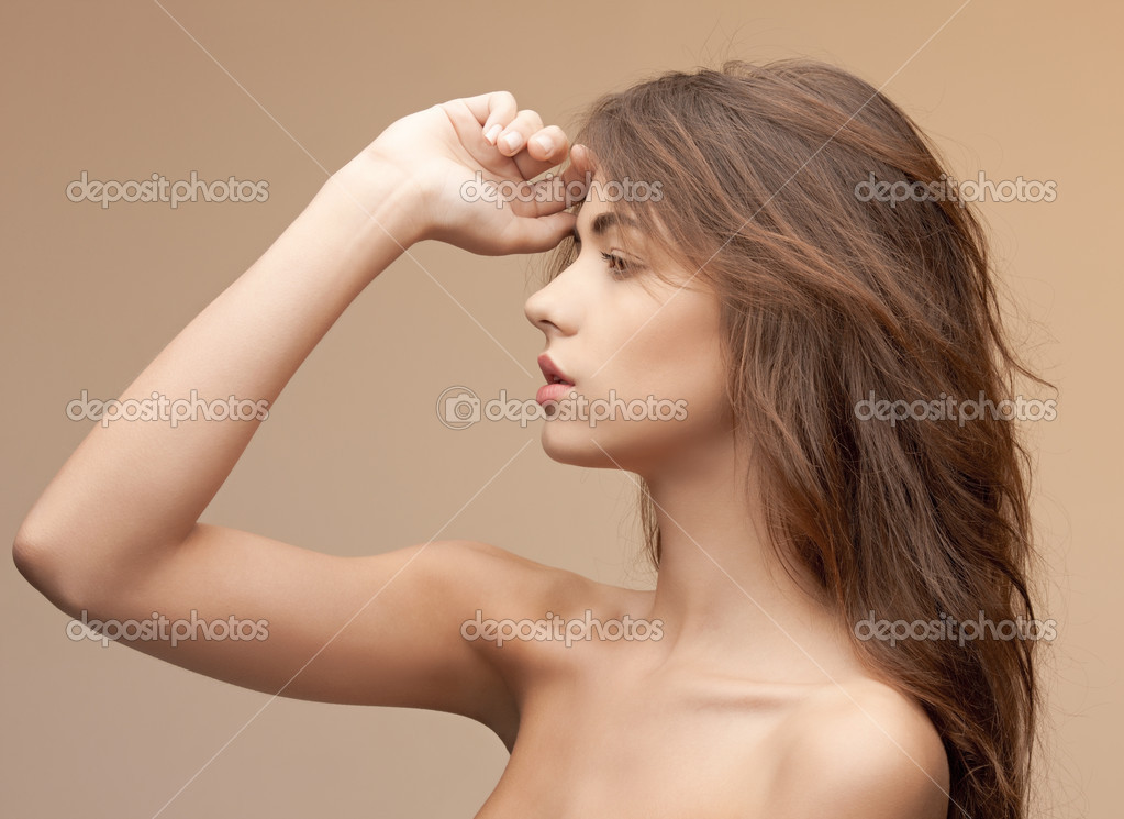 Bright closeup portrait picture of beautiful woman — Foto de Stock   #9168425