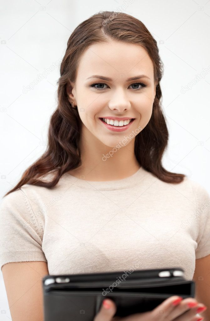 Picture of happy woman with tablet pc computer — Stock Photo #9168466