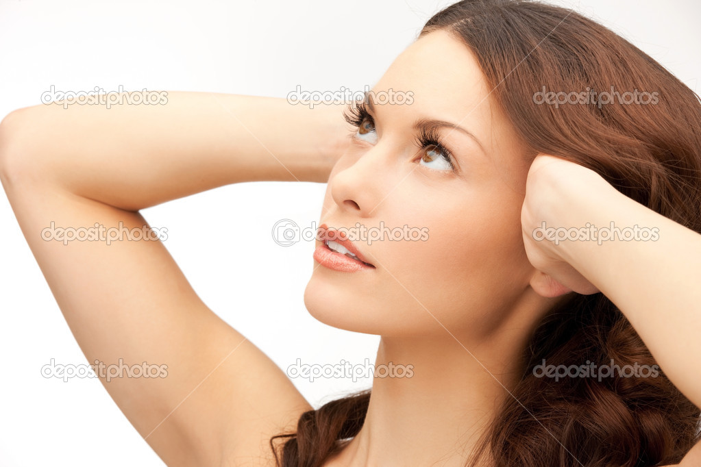 Bright closeup portrait picture of beautiful woman — Stock Photo #9168579