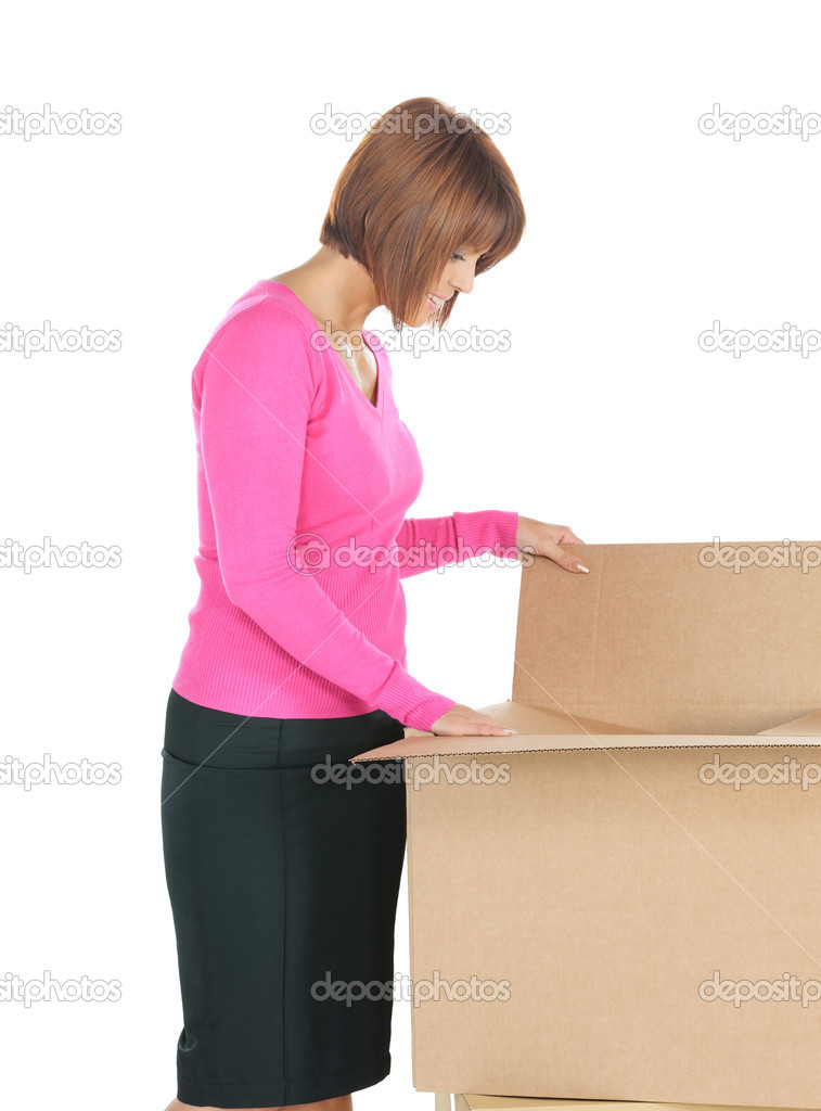 Picture of attractive businesswoman with big boxes — Stock Photo #9168656