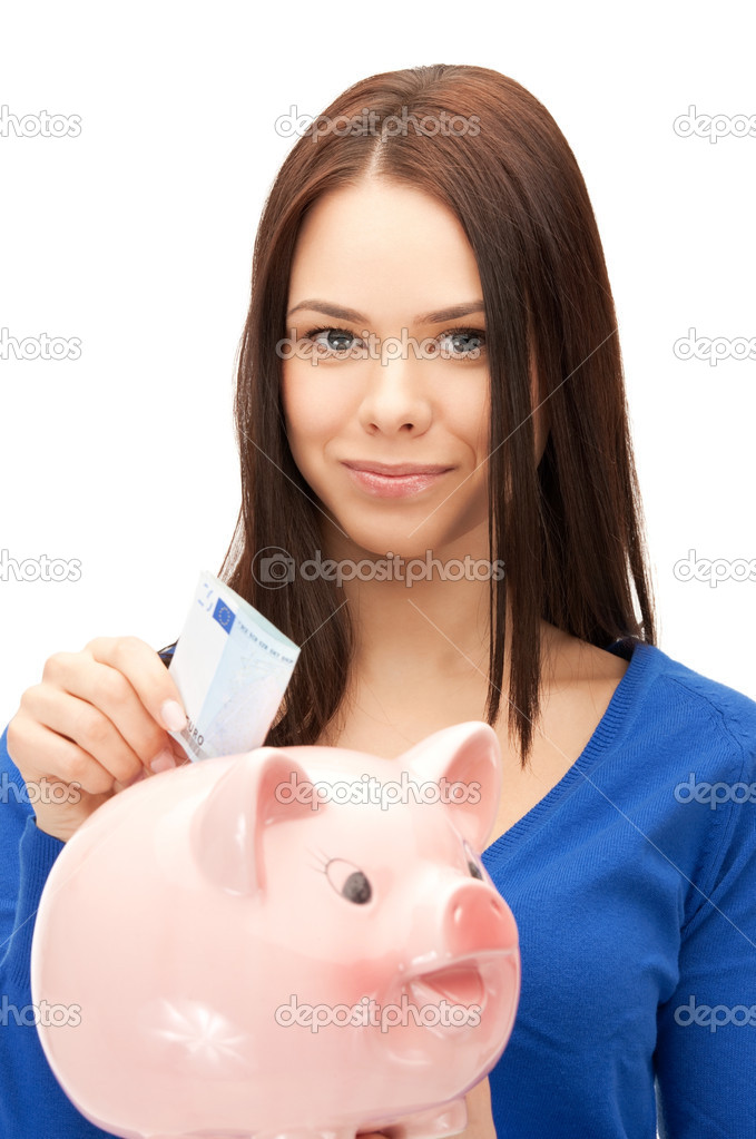 Picture of lovely woman with piggy bank and money — Stock Photo #9222662