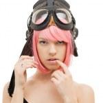 Pink hair girl in aviator helmet — Stock Photo #9274680