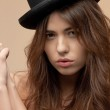 Beautiful topless woman in bowler hat — Stock Photo #9275004