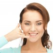 Woman making a call me gesture — Stock Photo #9385140
