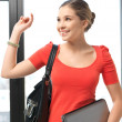 Happy and smiling teenage girl with laptop — Stock Photo #9423425