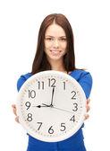 Vrouw bedrijf grote klok — Stockfoto