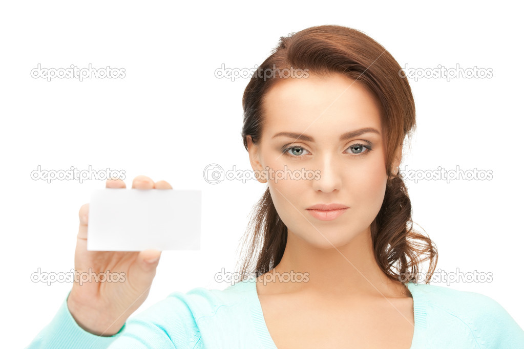 Bright picture of confident woman with business card — Stock Photo #9423988