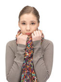 Sad woman in muffler — Stock Photo
