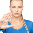Woman making stop gesture — Stock Photo #9736517