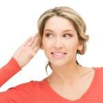 Frau hören Klatsch — Stockfoto