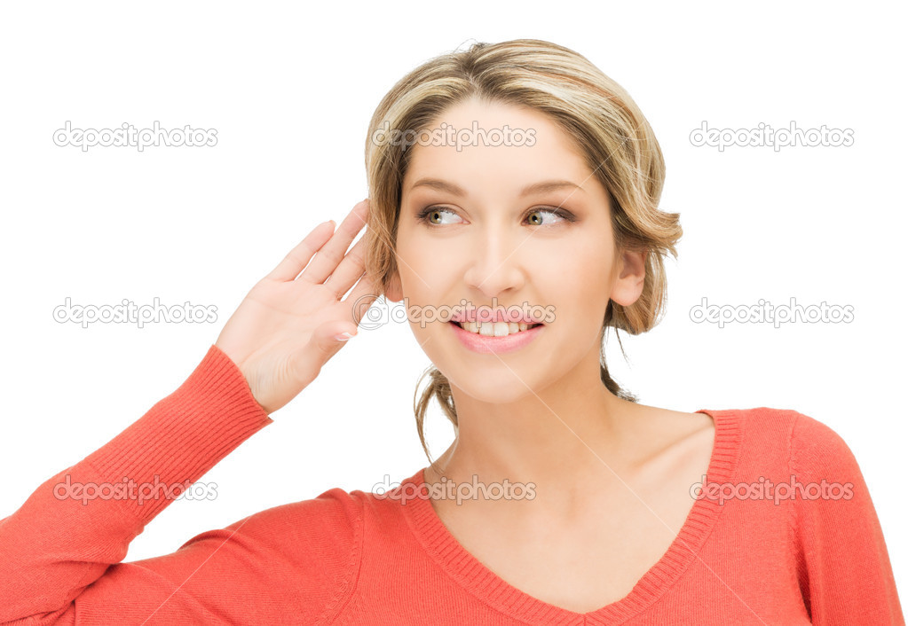 Bright picture of young woman listening gossip — Stock Photo #9800338