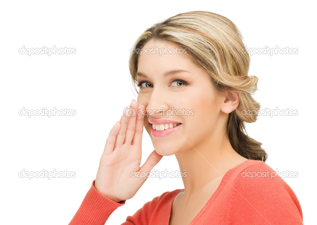 Bright picture of young woman whispering gossip  Stock Photo #9800357