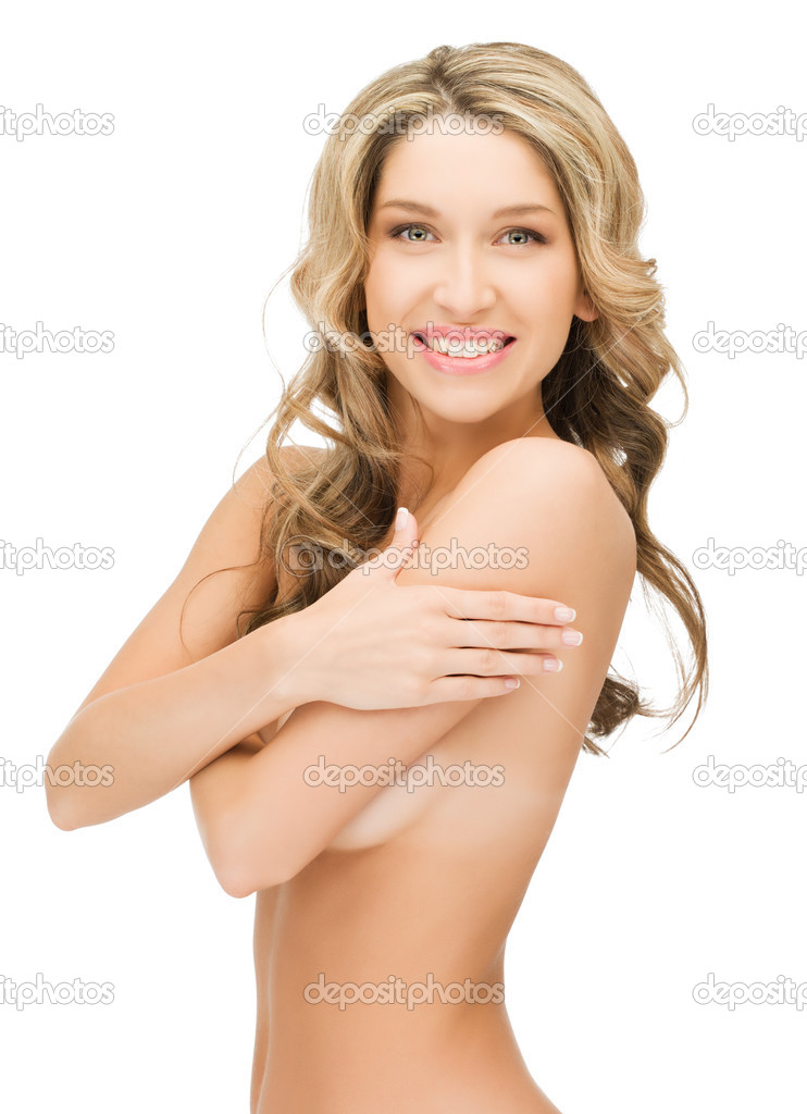 Bright closeup picture of beautiful topless woman  Stock Photo #9800515