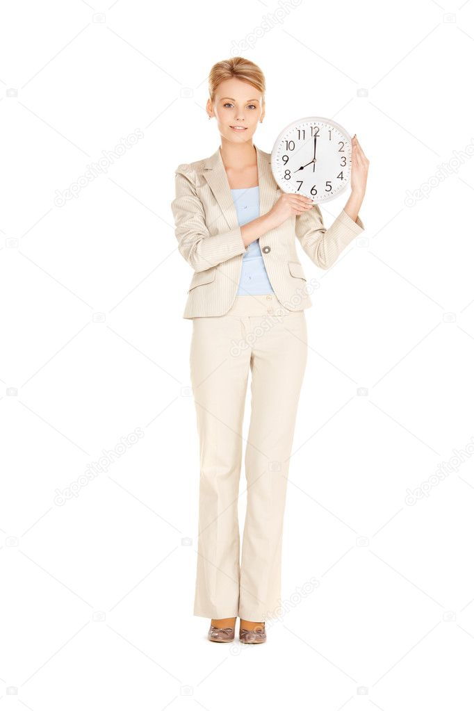 Bright picture of woman holding big clock  Stock Photo #9800787