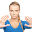 Woman making stop gesture — Stock Photo #9830559