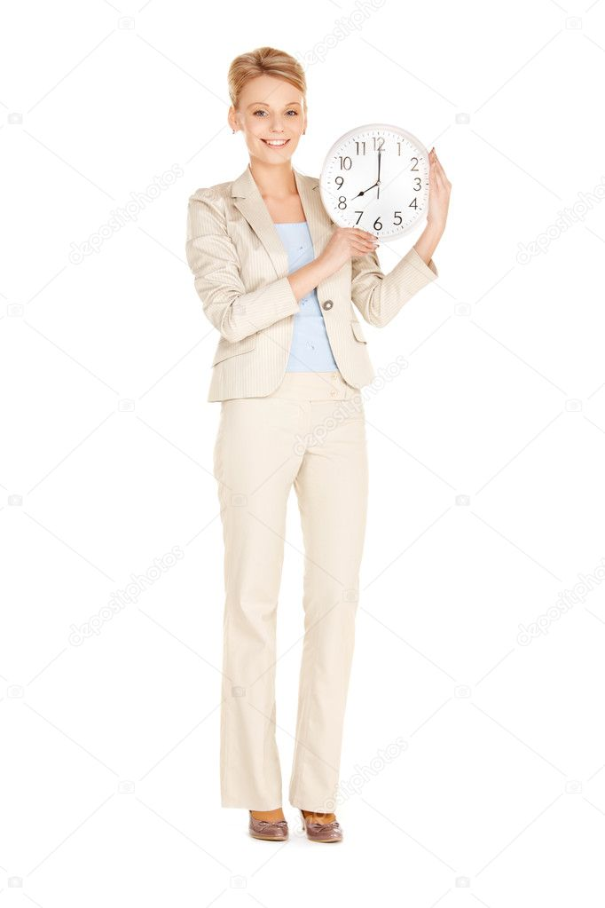 Bright picture of woman holding big clock — Stock Photo #9855600