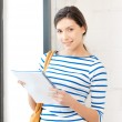 Happy woman with big notepad — Stock Photo